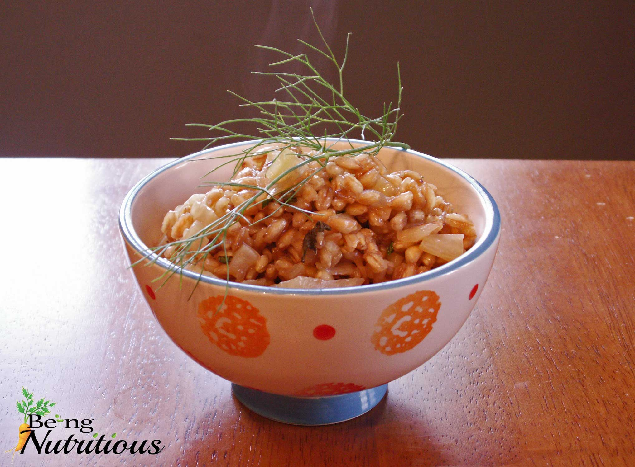 Apple Fennel Farro Pilaf garnished with fennel frond