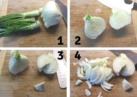 Steps to cut a fennel bulb