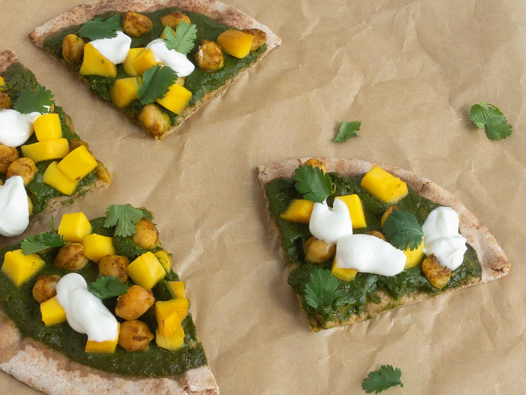 Curry Chickpea Mango Pizza Slices