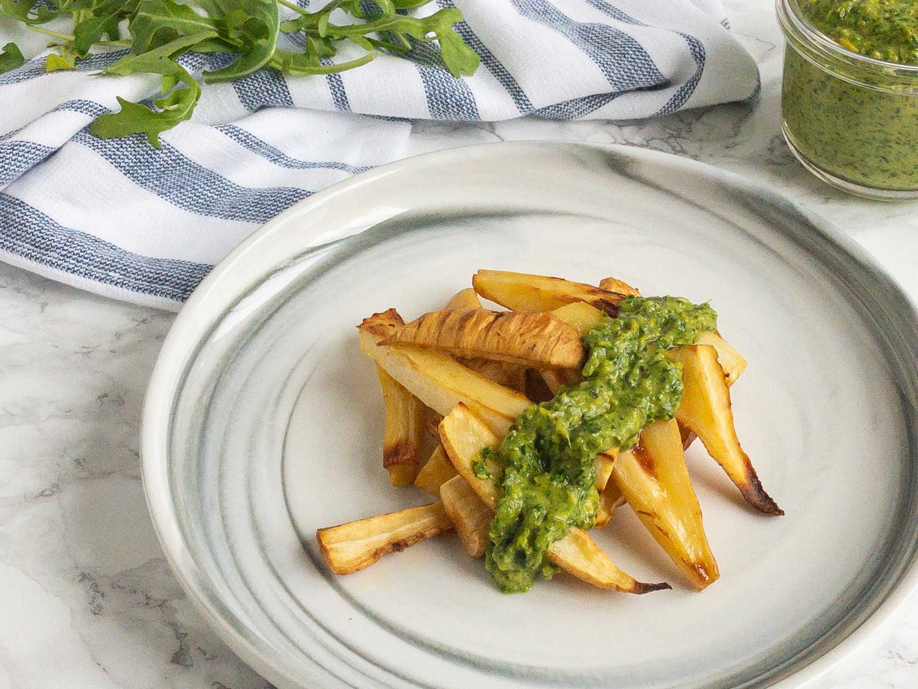 Delicious roasted parsnips with pesto