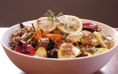 Grilled Vegetable and Wheat Berry Salad with Lemon Thyme Vinaigrette