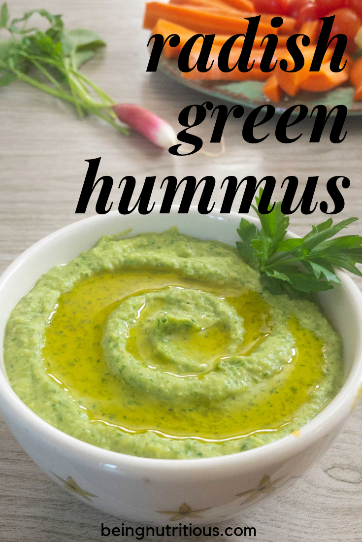 Radish green hummus pinterest graphic.