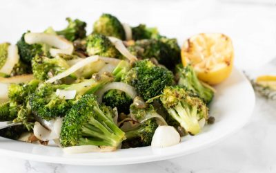 Grilled Broccoli and Onions with Lemony Caper and Thyme Sauce