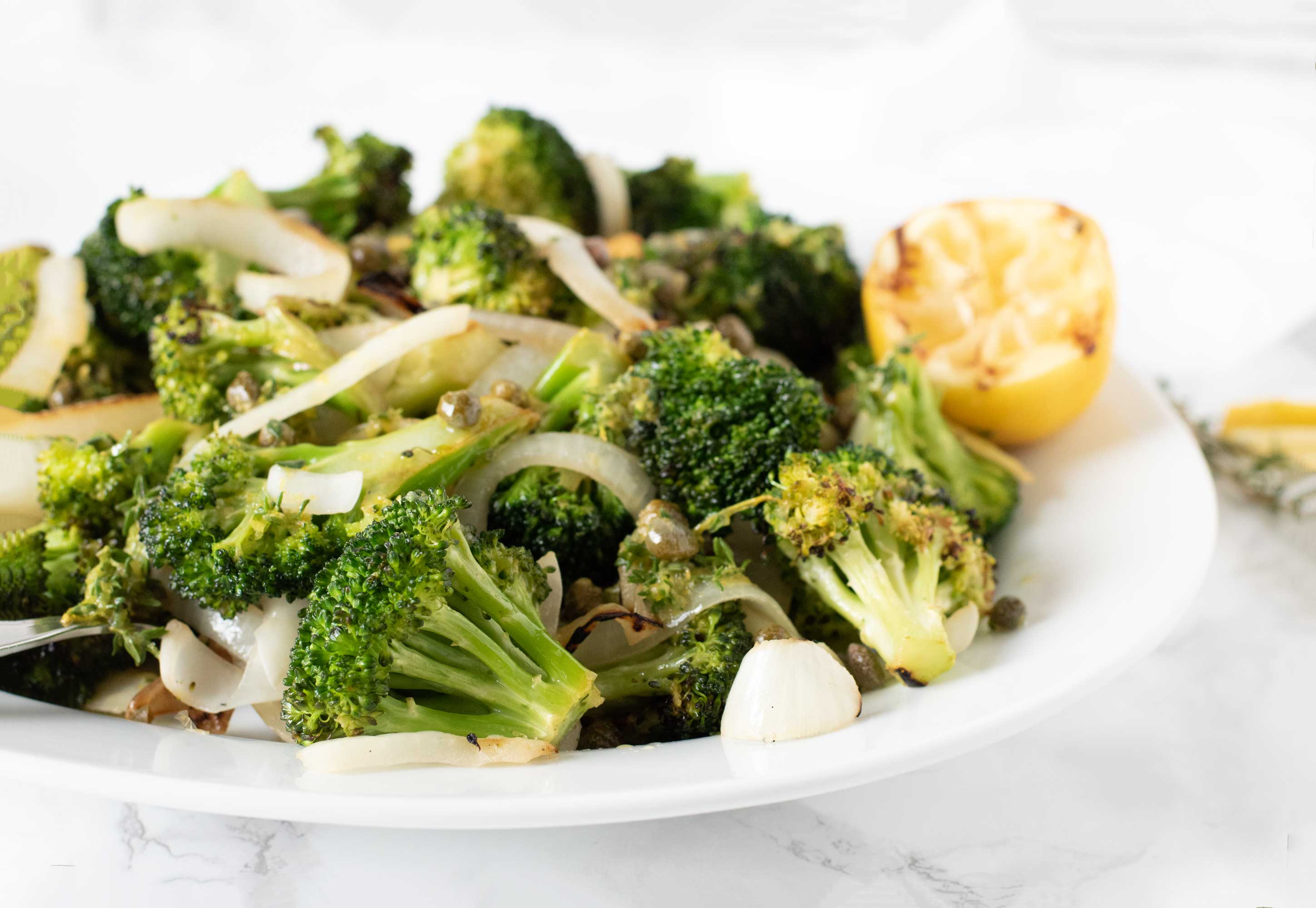 Grilled broccoli and onion