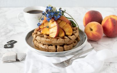 Chai Latte Waffles with Ginger Grilled Peaches