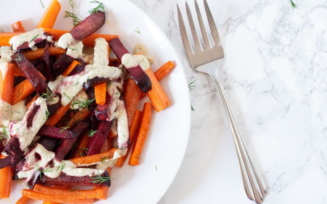 Roasted Beets & Carrots with Creamy Garlic Dill Sauce