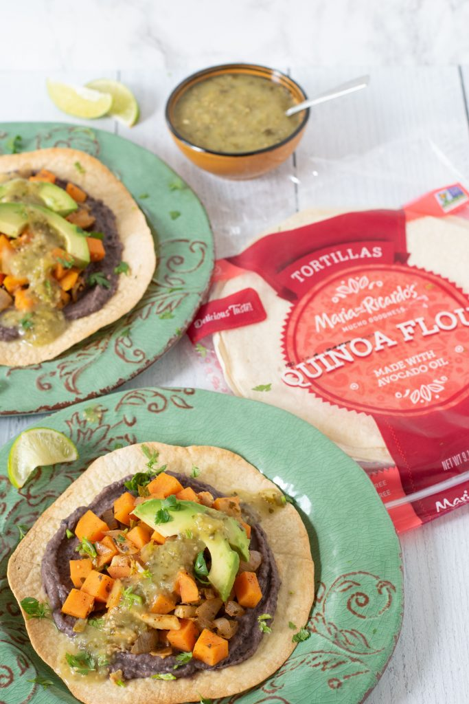 Brussels Sprout, Sweet Potato & Black Bean Tostadas