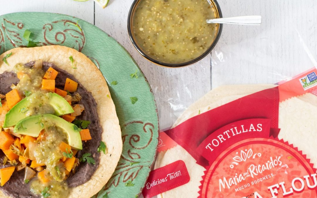 Brussels Sprout, Sweet Potato, and Black Bean Tostadas