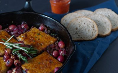 Easy Skillet Tempeh with Caramelized Onions and Grapes