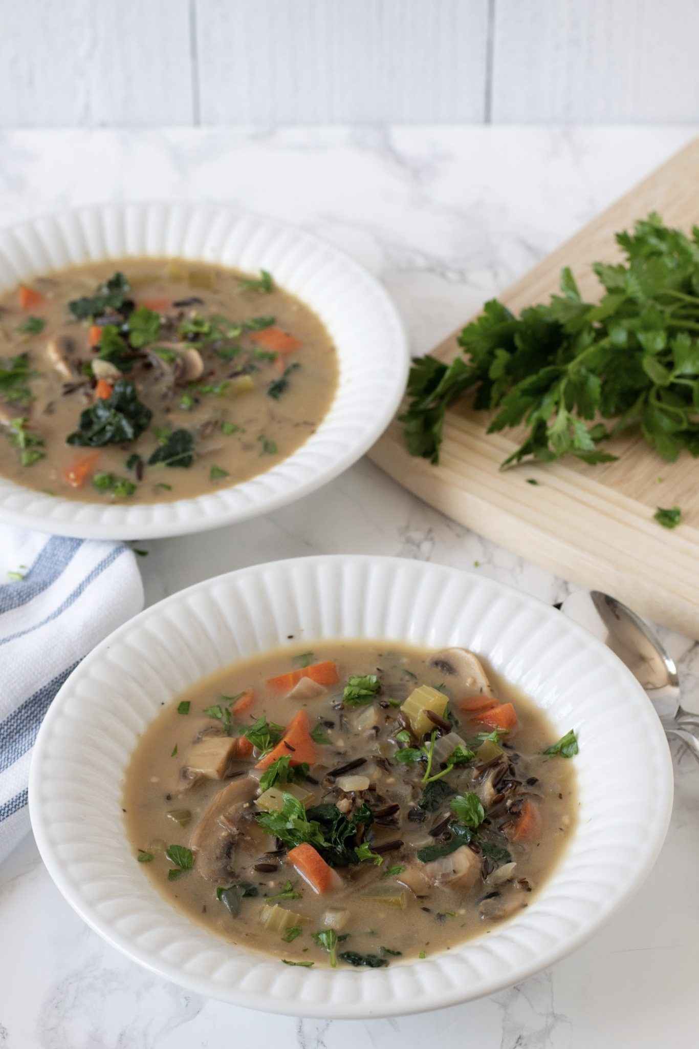 Creamy Mushroom Kale and Wild Rice Soup