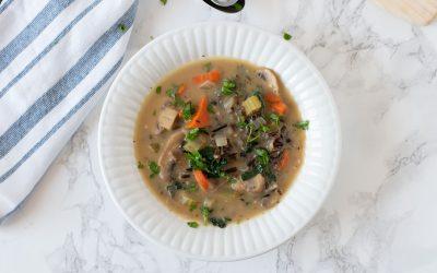 Creamy Mushroom Kale & Wild Rice Soup