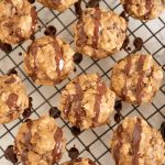 Peanut Butter Banana Muffins drizzled with chocolate from the top