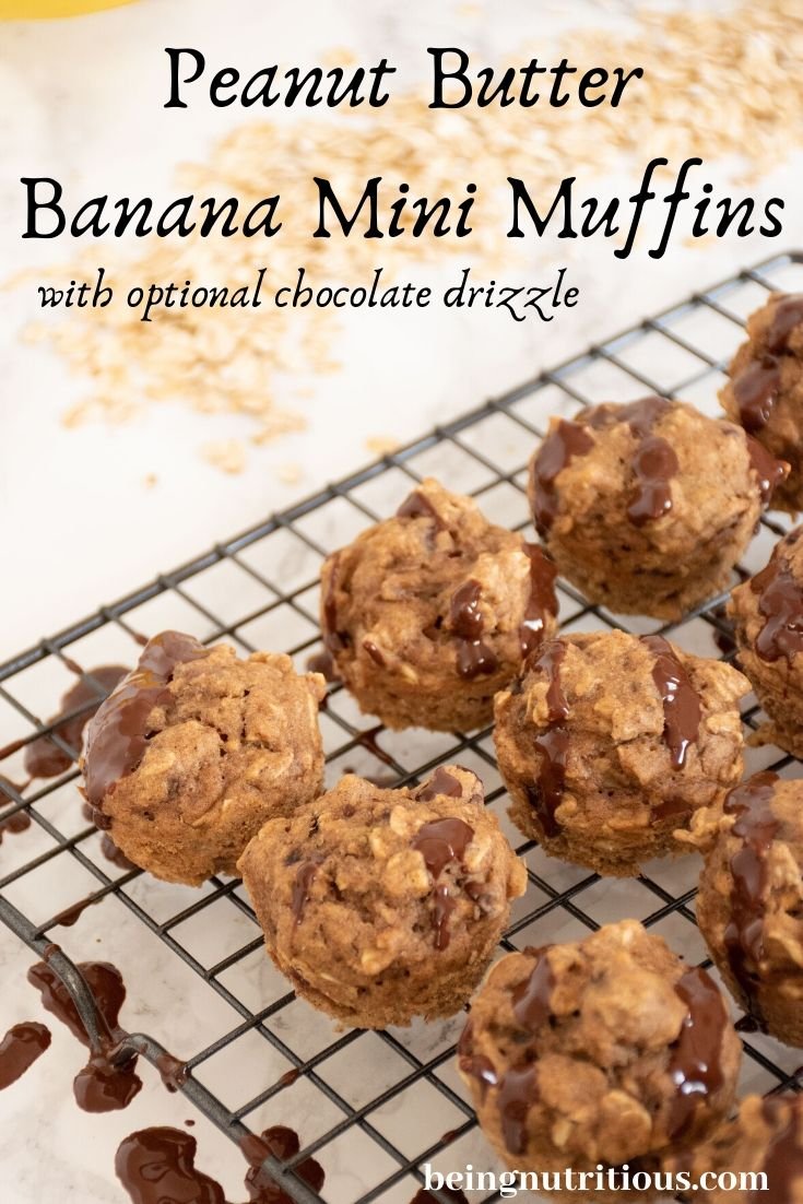 Peanut Butter Banana Muffins with chocolate drizzle on wire rack