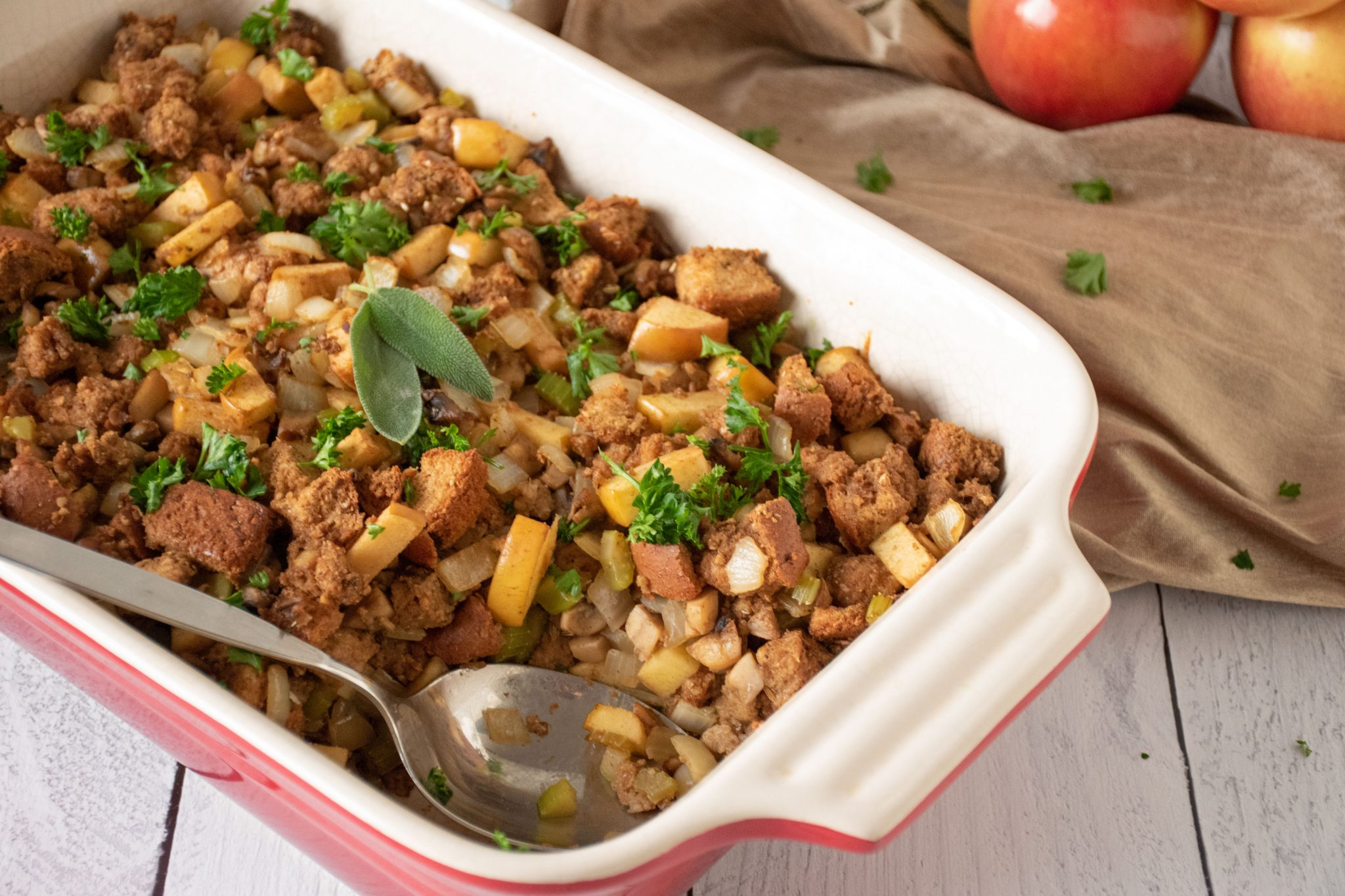 Apple Sage Stuffing in Casserole dish