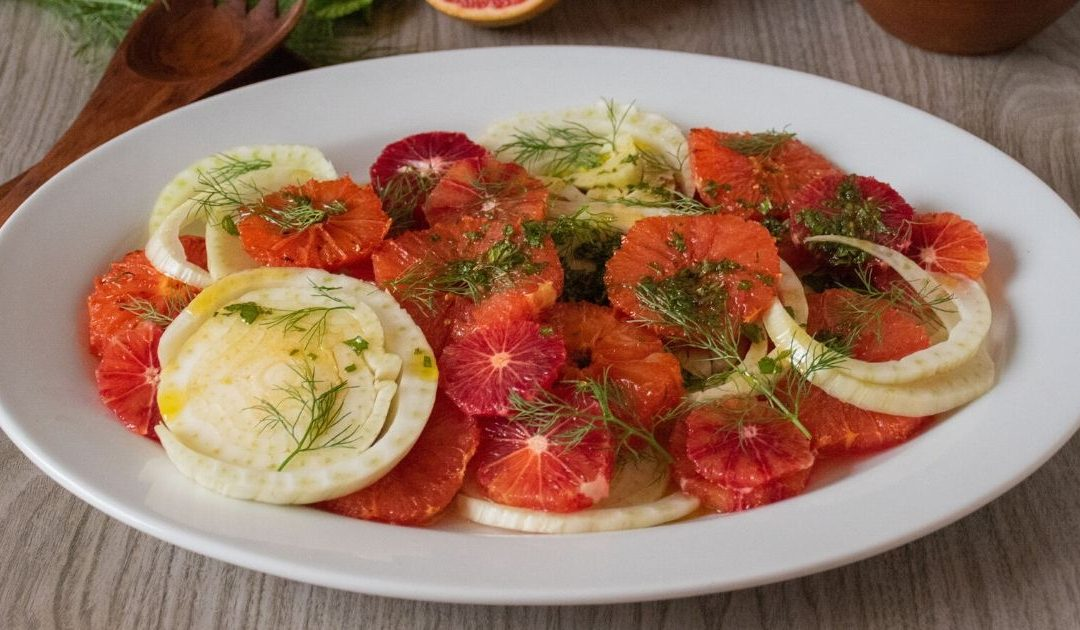 Broiled Grapefruit & Fennel Salad with Honey Mint Vinaigrette