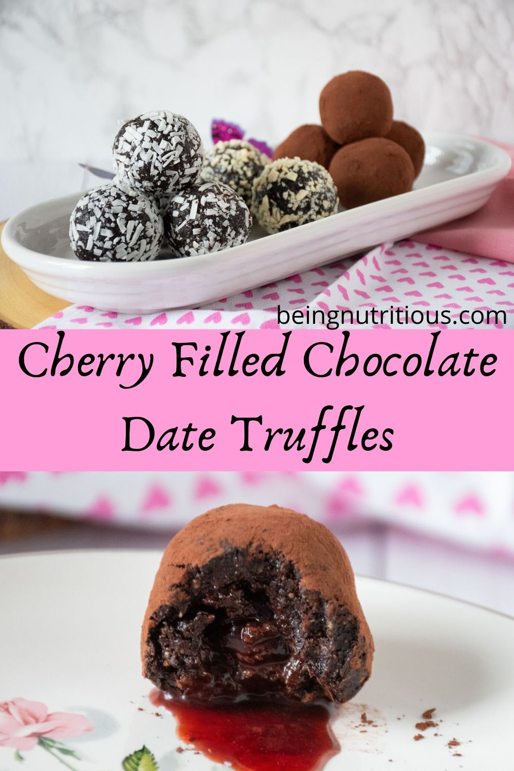 Pinterest graphic for chocolate date truffles