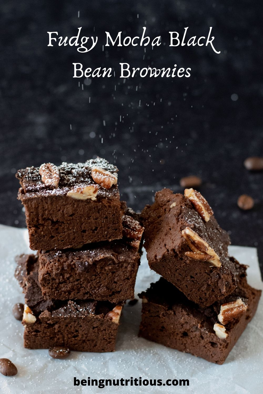 Fudgy Mocha Black Bean Brownies pinterest graphic