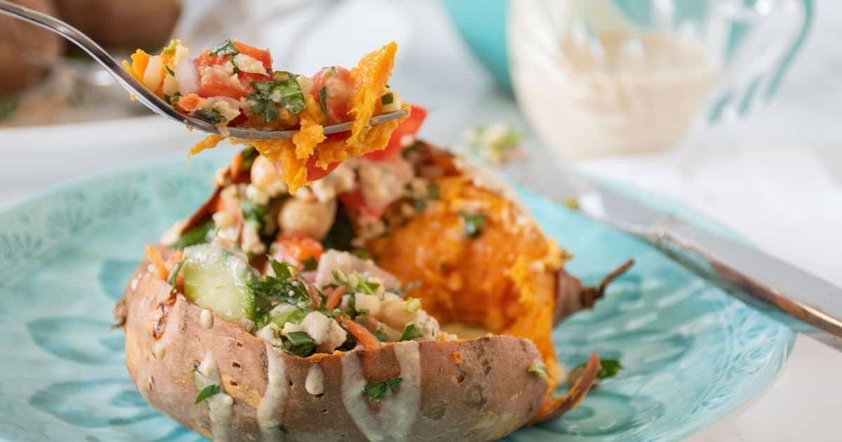 Cover photo of stuffed sweet potatoes