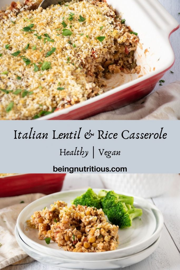 Italian Lentil & Rice casserole pinterest graphic