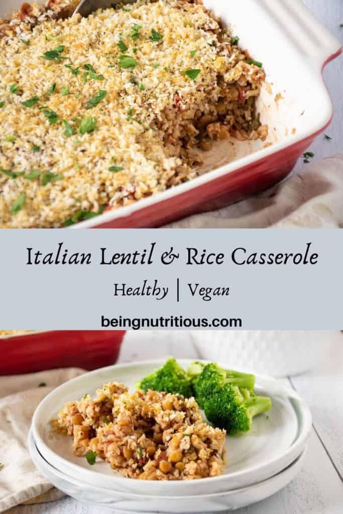 Italian Lentil & Rice casserole pinterest graphic