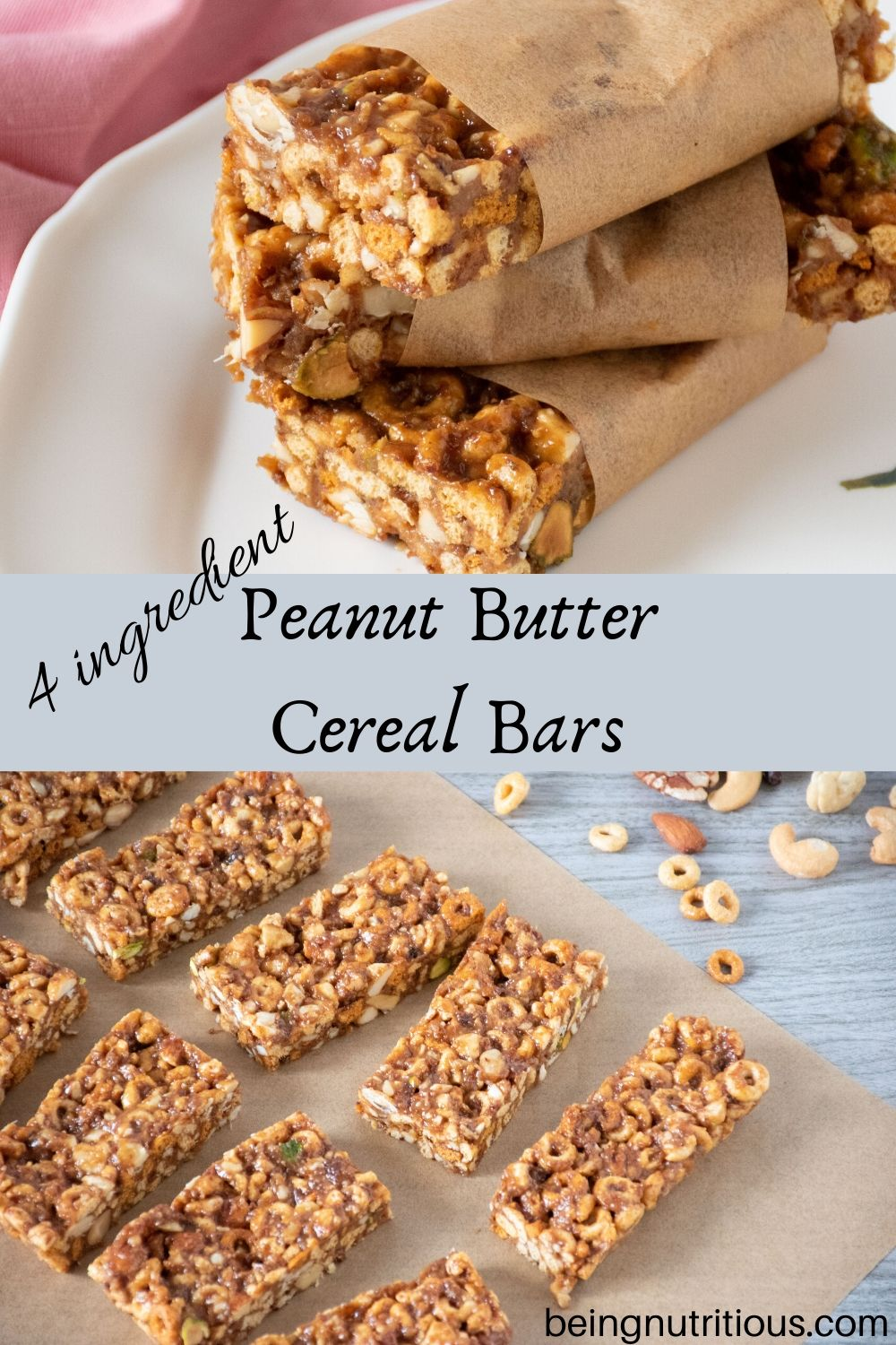 Peanut butter cereal bars pinterest graphic