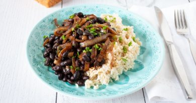 Balsamic glazed onions and black beans with rice