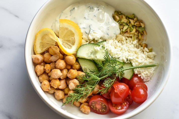 Spicy Chickpea Power Bowls with Tzatziki from Leanne Ray