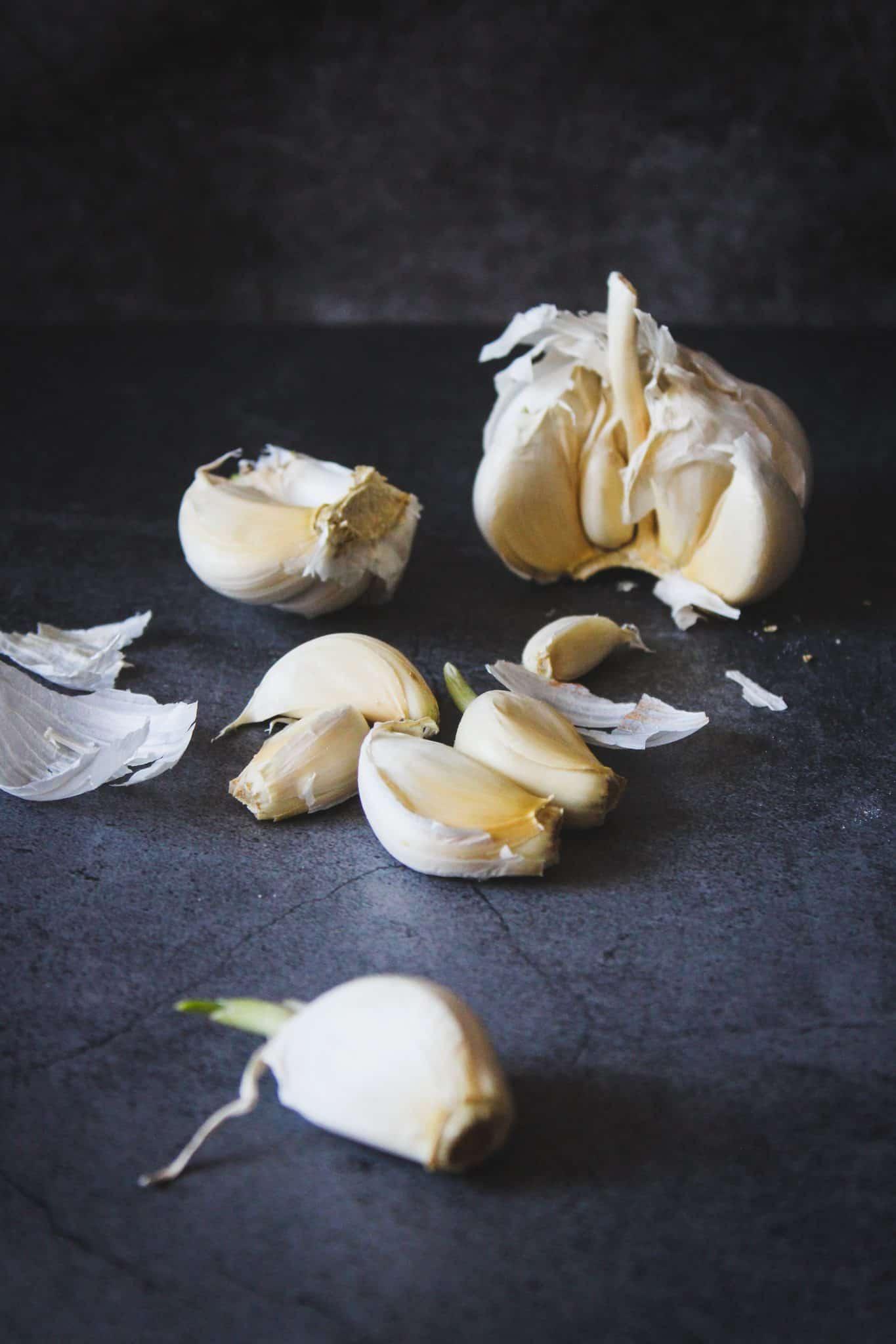 Head of garlic on a dark background