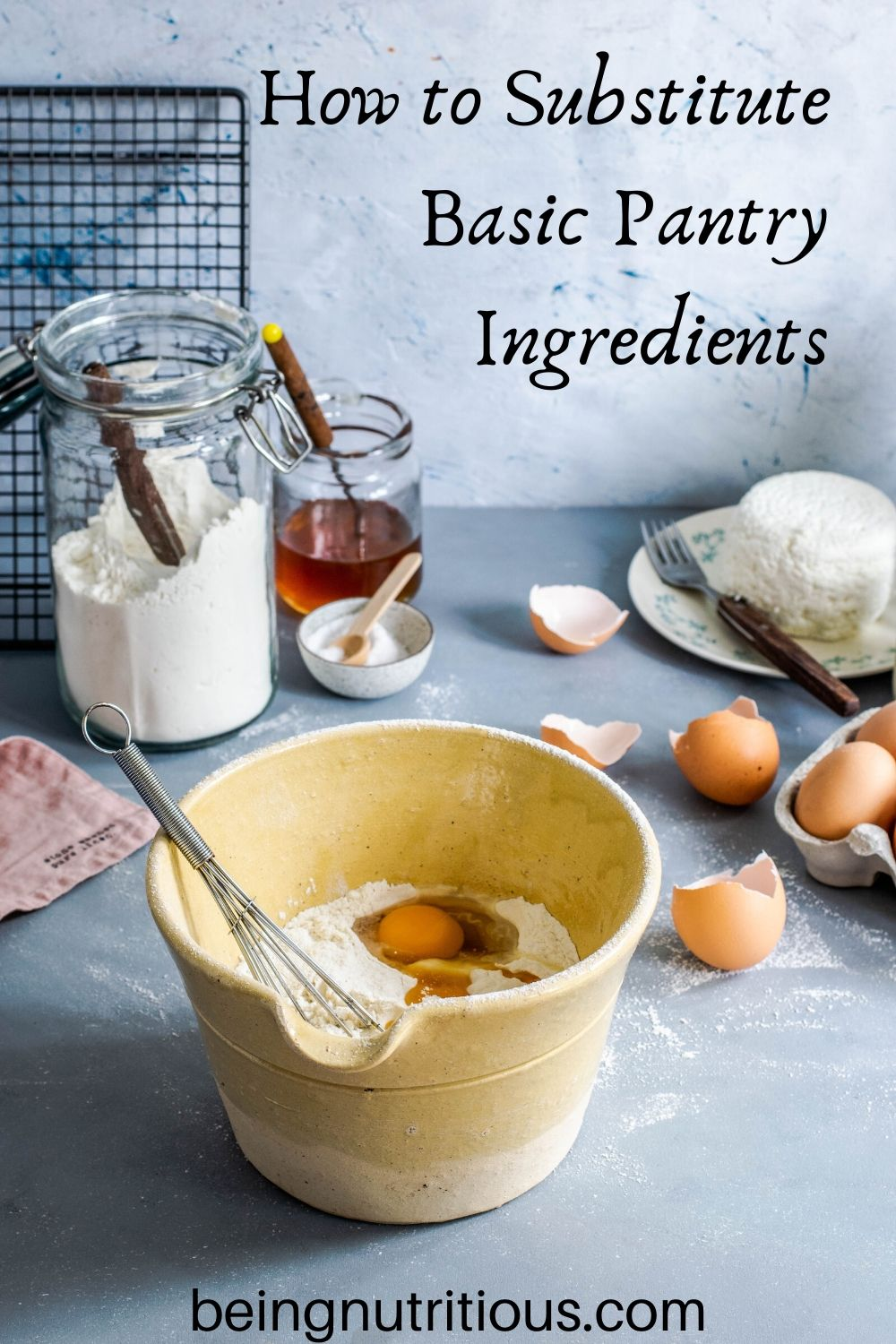 Table with baking ingredients on it, and a bowl with flour and eggs in it.