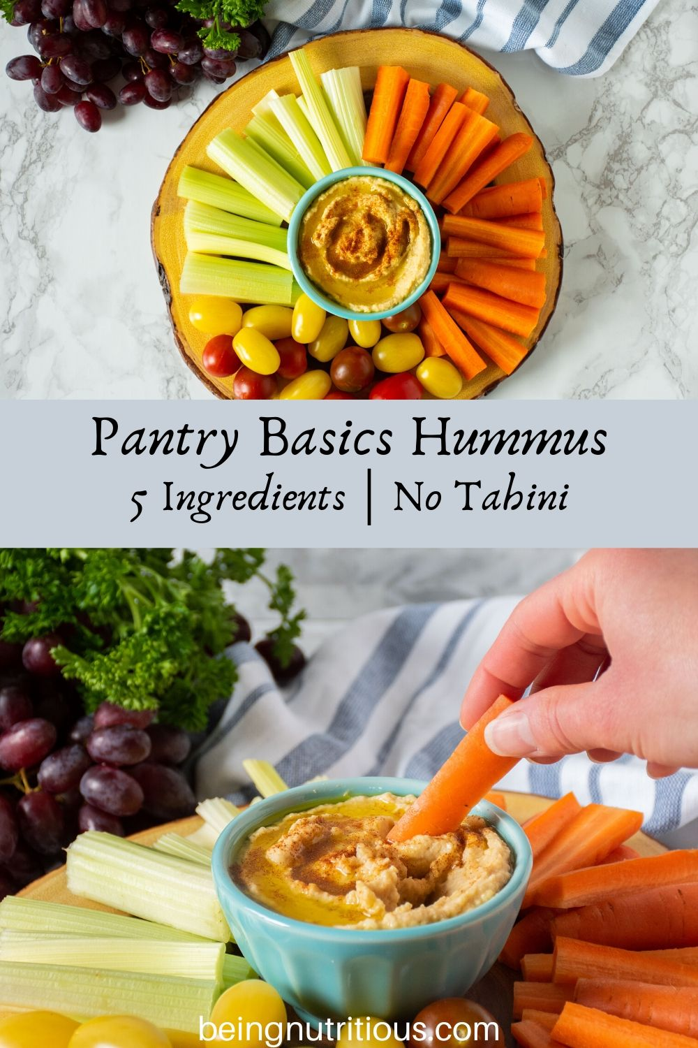 Pinterest graphic for Pantry Basics Hummus