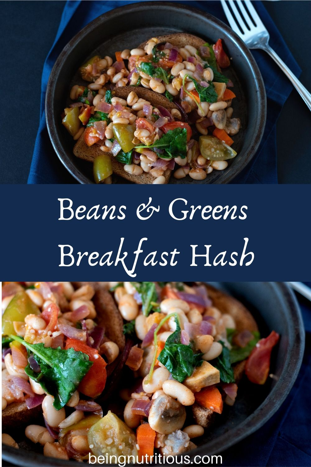 Beans and Greens Breakfast Hash on toast in a metal dish.