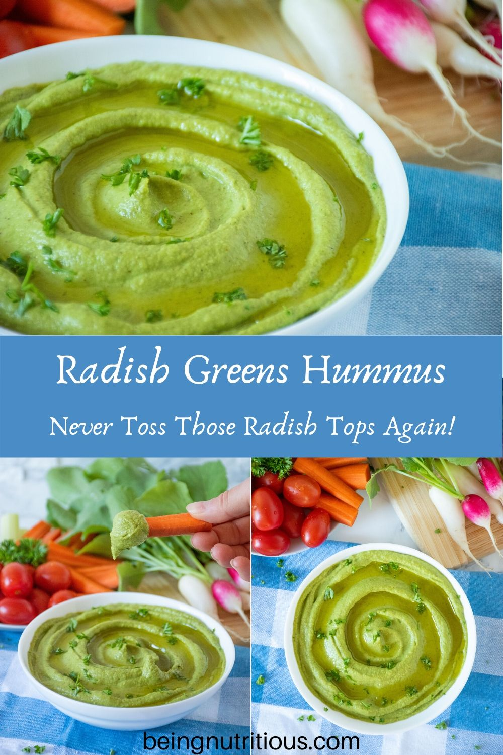 Compilation of 3 images of radish greens hummus in a white bowl, with a variety of vegetables for dipping in the background.