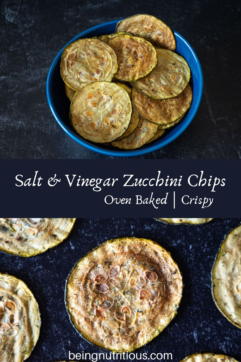 Split image - top image is a blue bowl filled with zucchini chips, bottom image is a close up of a single chip on a dark background.