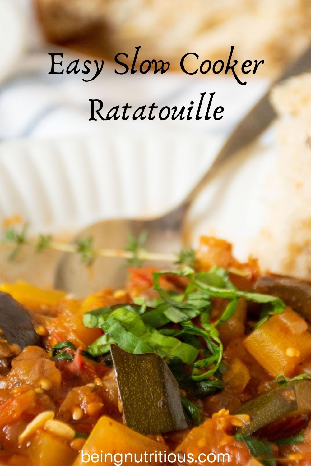 Close up of bowl of ratatouille. Text overlay: Easy Slow Cooker Ratatouille.