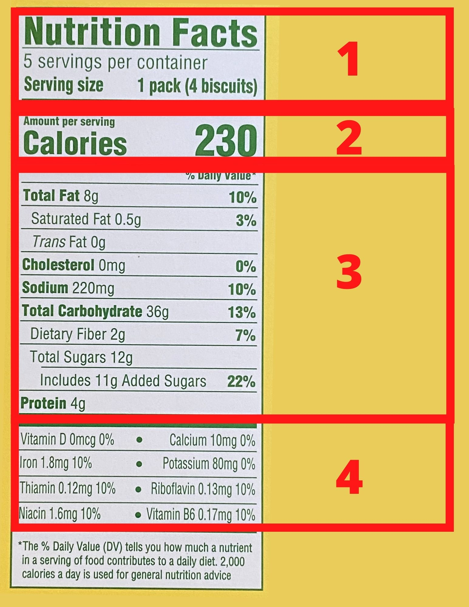 Nutrition label, divided into 4 sections.
