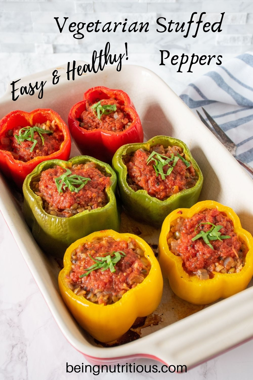Baking pan, filled with 6 stuffed bell peppers. Text overlay: Vegetarian Stuffed Peppers, easy and healthy!