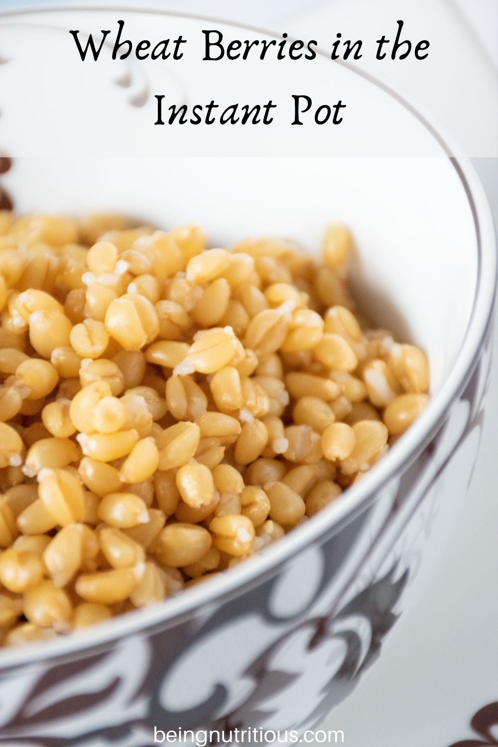 Bowl of cooked wheat berries. Text overlay: Wheat Berries in the Instant Pot.