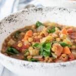 Lentil soup in a bowl.