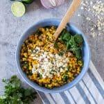 Corn salad in a bowl.