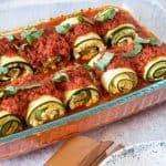 Baking pan of lasagna rolls.
